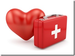 Frst aid kit with heart shape